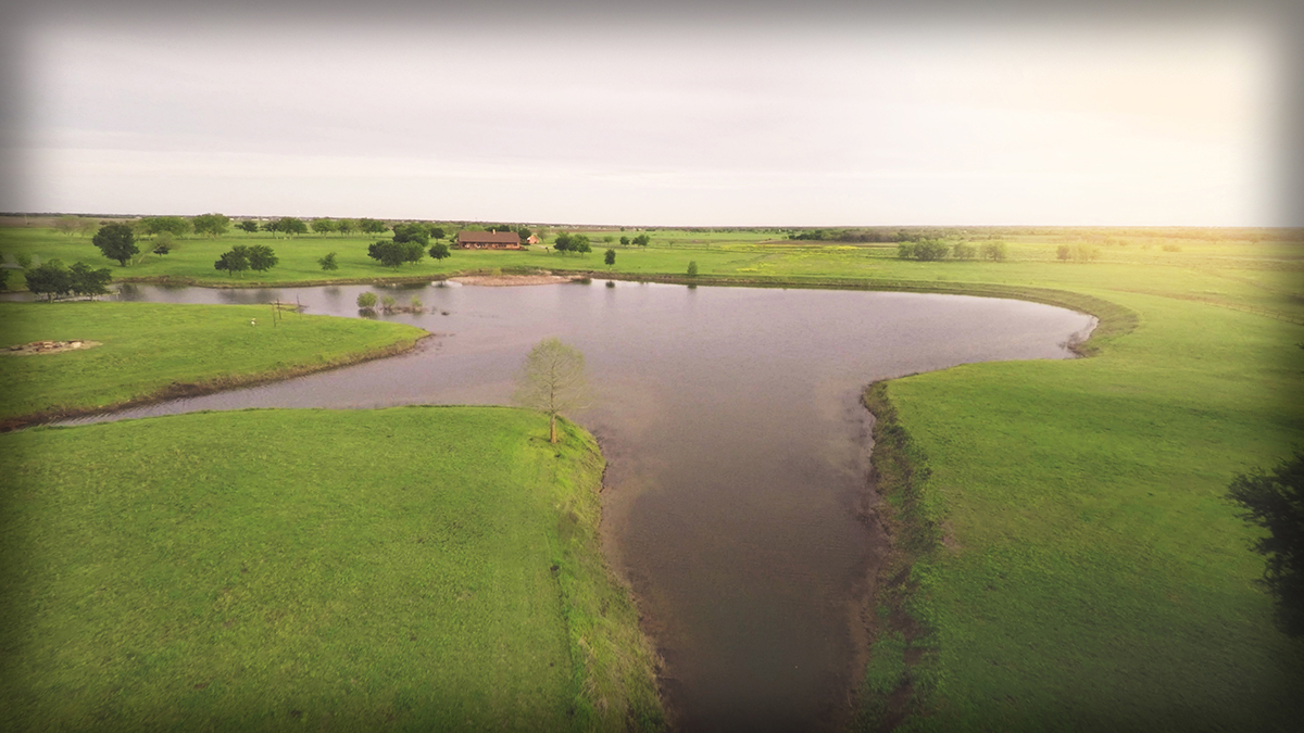 Lonesome Dove Ranch - Aerial of the stocked lake