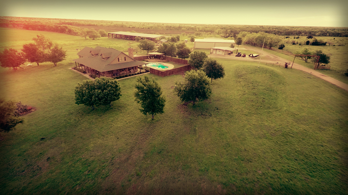 Lonesome Dove Ranch - Aerial of the bunk house and pool
